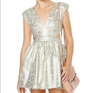 Nasty Gal Brocade Cutout Mini Dress